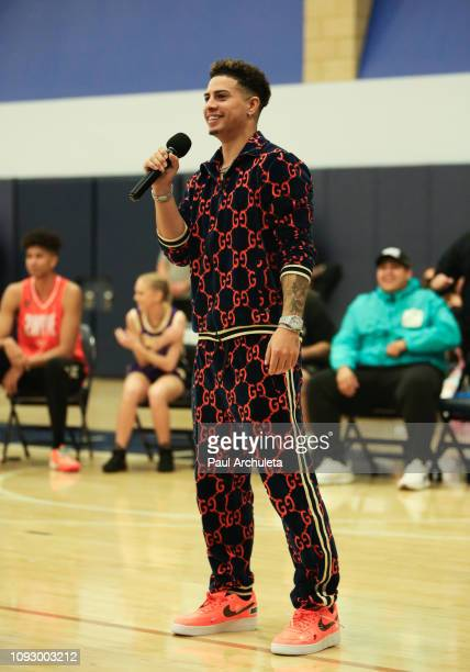 Social Media Personality Austin McBroom attends the Ace Family celebrity basketball shootout for $100K at Sierra Canyon High School on January 11...