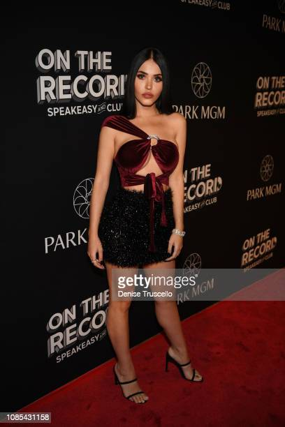 Social media personality Esther Anaya arrives at the grand opening celebration of On The Record Speakeasy and Club at Park MGM on January 19 2019 in...