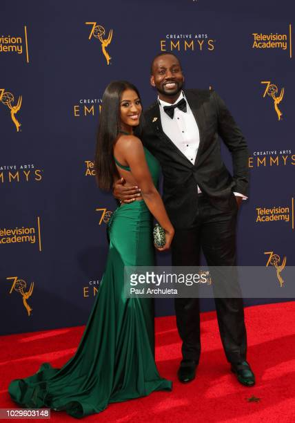 Social Media Personality Janina Gordillo and DeStorm Power attend the 2018 Creative Arts Emmy Awards at Microsoft Theater on September 8 2018 in Los...