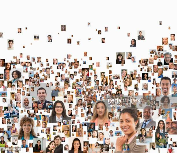 social media portrait collage - multiculturalism stock pictures, royalty-free photos & images