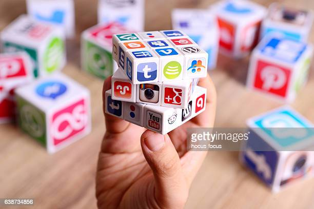 social media puzzle cube - group of objects stock photos and pictures