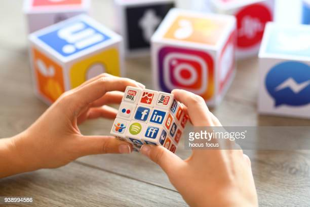 social media puzzle cube - editorial stock pictures, royalty-free photos & images