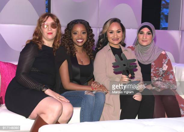 Social Movement Award Honorees Bob Bland Tamika D Mallory Carmen Perez and Linda Sarsour attends BET's Social Awards 2018 at Tyler Perry Studio on...