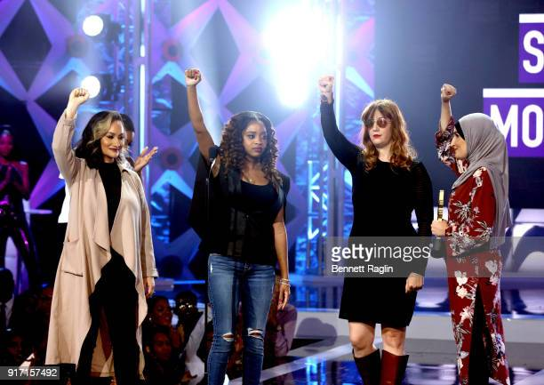 Social Movement Award Honorees Carmen Perez Tamika D Mallory Bob Bland and Linda Sarsour on stage during the BET's Social Awards 2018 at Tyler Perry...