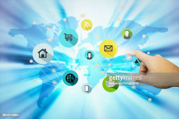 social network and connected - marketing icons stock photos and pictures