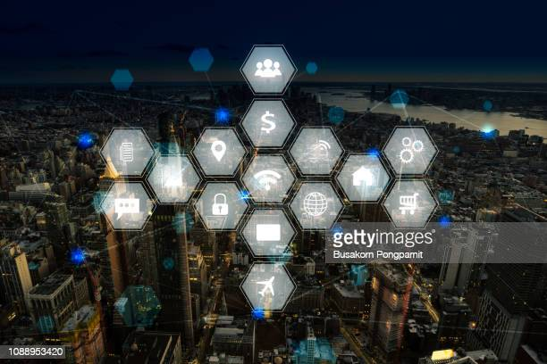 Social network and connection technology concept with city background