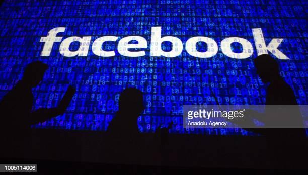 Social network company Facebook's logo is seen in Ankara Turkey on July 25 2018