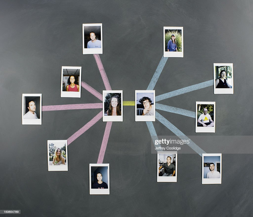 Social Network Diagram with Photos : Stock Photo