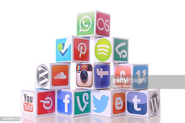 social network icons - marketing icons stock photos and pictures