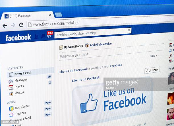social network web page on display. - page stock pictures, royalty-free photos & images