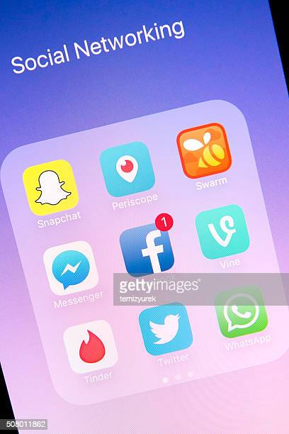 Social Networking Apps on Apple iPhone 6s Plus Screen