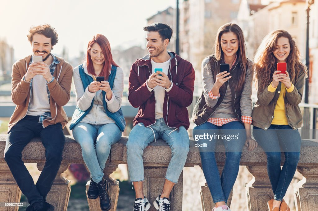 Social networking in the city : Stock Photo