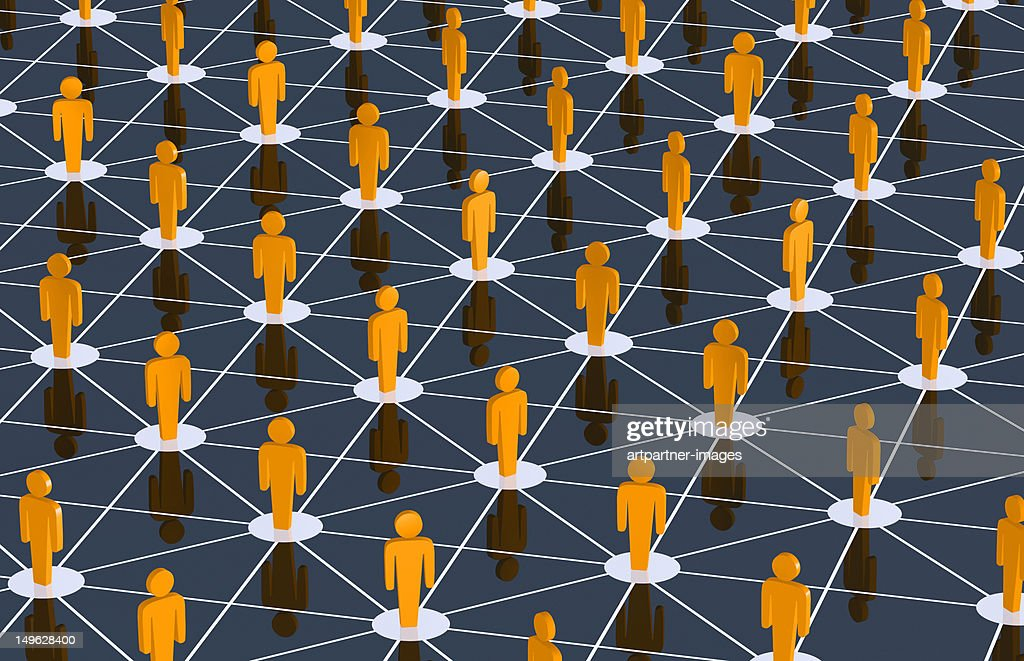 Social networking shown with connected figures : Stock Photo