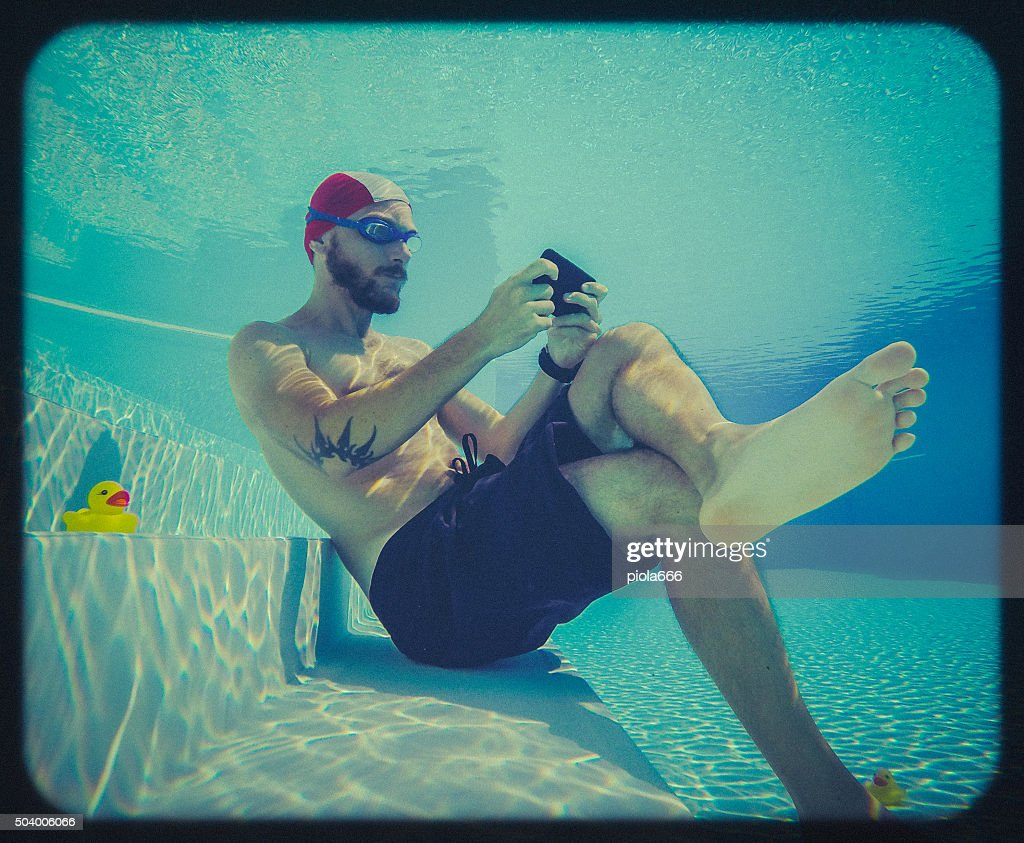 Social networking underwater: toy camera effect : Stock Photo