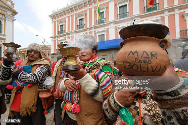 Social organizations celebrate at Plaza Murillo after a favourable ruling from the International Court of Justice on Bolivia's maritime claim over...