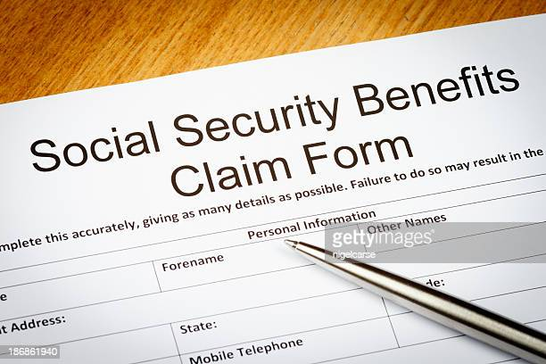 social security benefits claim form - social security stock pictures, royalty-free photos & images