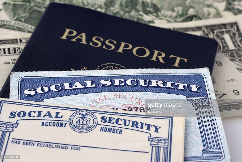 social security cards passport highres stock photo