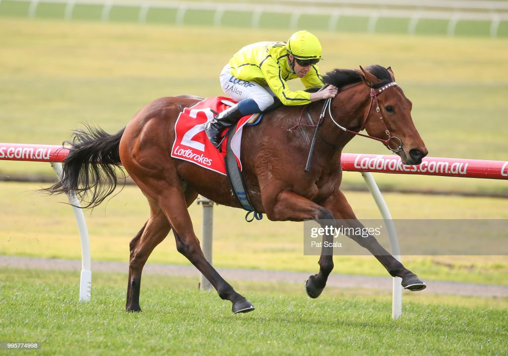 Social Spin ridden by John Allen wins the Ladbrokes Protest Payout Handicap at Ladbrokes Park Lakeside Racecourse on July 11, 2018 in Springvale, Australia.