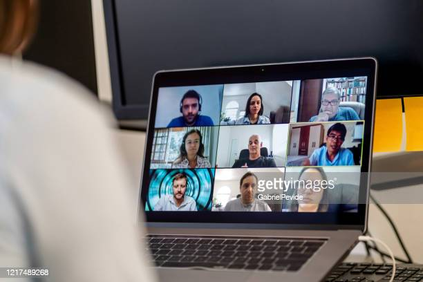social teleconference during covid-19 - social issues stock pictures, royalty-free photos & images