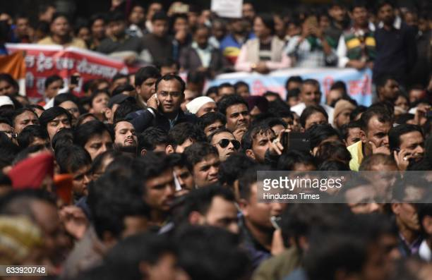 Social trade investors shout slogans against government during a protest at Jantar mantar demanding the release of owner of the trade social Abinav...