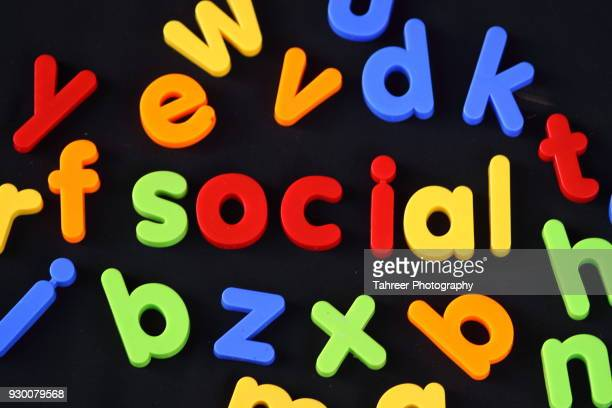 Social written with alphabet blocks