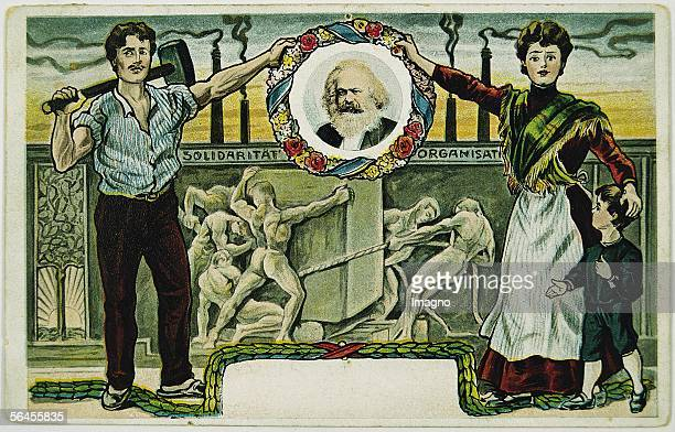 Socialdemocratic picture postcard with a portrait of Karl Marx Colour Lithography Around 1895 [Sozialdemokratische Bildpostkarte mit dem Portrait von...