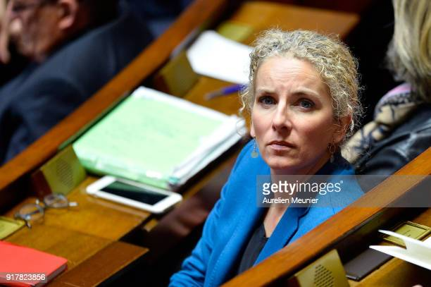 Socialist Deputie Delphine Batho reacts as Ministers answer deputies questions during the weekly session of questions to the government at Assemblee...
