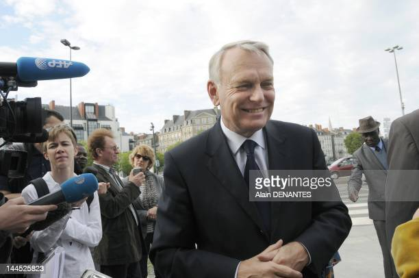 Socialist deputy and mayor of Nantes Jean Marc Ayrault attends the Memorial Day for the Abolition of Slavery on May 10 2012 in Nantes France