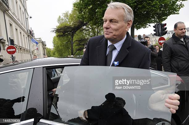 Socialist deputy and mayor of Nantes Jean Marc Ayrault leaves after attending the official ceremony for the anniversary of the Victory of 8 May 1945...
