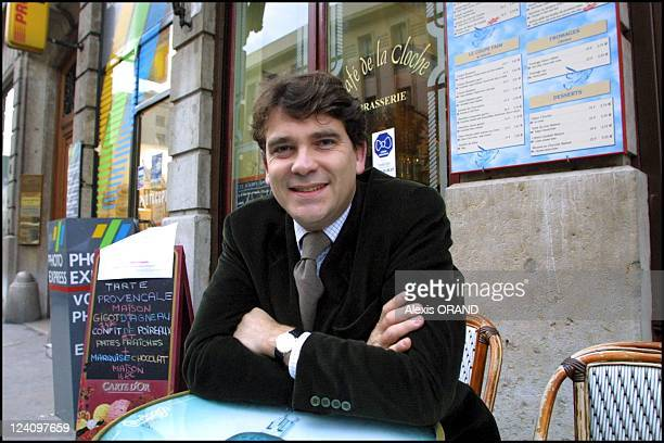 Socialist deputy for Saone and Loire Arnaud Montebourg presents convention for the 6th French Republic in Lyon France on November 29 2001
