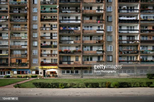 socialist housing project in warsaw, poland - council flat stock pictures, royalty-free photos & images
