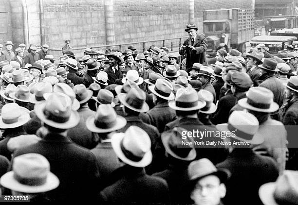 Socialist leader Norman Thomas speaks to a gathering of the unemployed at Leonard and Lafayette Streets in Manhattan. Threatened march on Mayor...