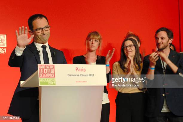 Socialist Party candidate Benoit Hamon delivers a speech after projected results suggested he has been defeated in the French Presidential Elections...