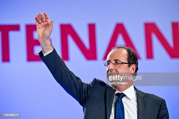 Socialist Party candidate Francois Hollande appears after the results of the first round of the 2012 French Presidential election on April 22 2012 in...