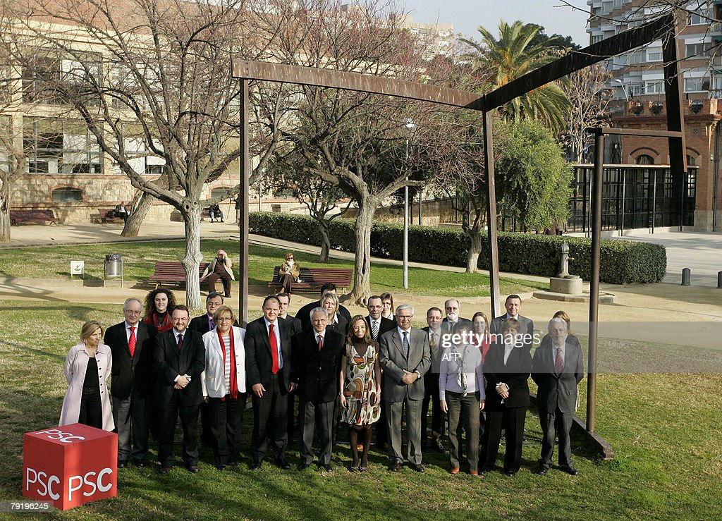Socialist party candidates for Catalonia in the upcoming general elections, (L-R) Lourdes Munoz, Manel Mas, Dani Fernandez, Isidre Molas, Carmen Chacon, Joan Clos, Montserrat Colldeforns, Isabel Lopez and Jordi Pedret pose in Barcelona, 24 January 2008.