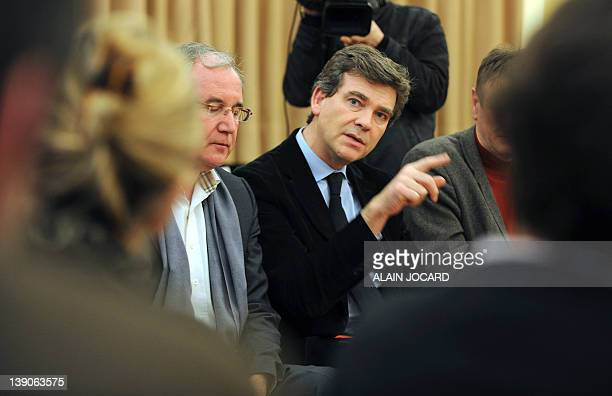 Socialist Party general secretary, Arnaud Montebourg speaks during a meeting with laid off employees of French lingerie group Aubade and of a...