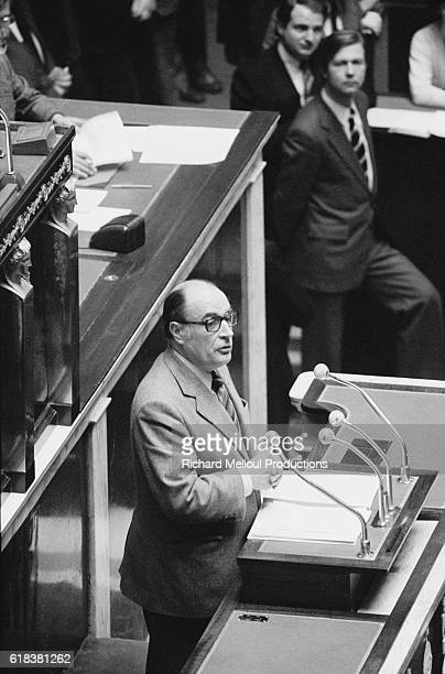 Socialist Party leader Francois Mitterrand speaks at the Assemblee Nationale in Paris The National Assembly was holding talks on the 1980 budget