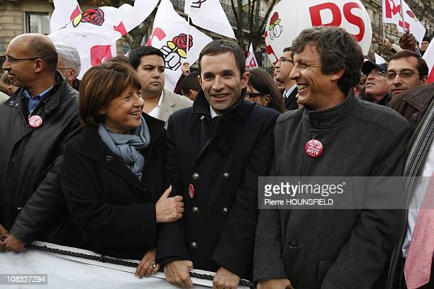 Socialist party leader Martine Aubry and Benoit Hamon during the rally against pension reform in Paris France on October 19th 2010