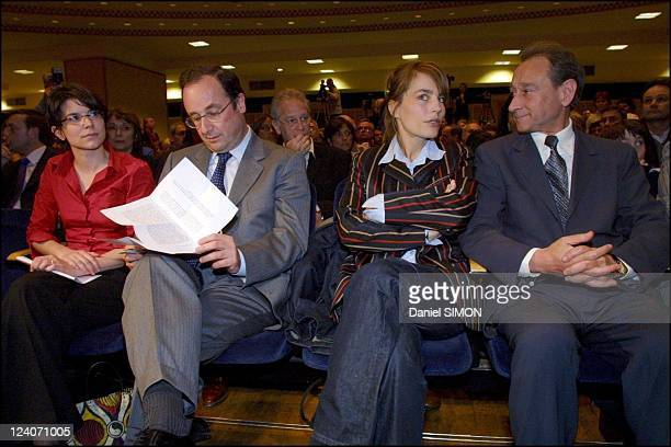 Socialist Party meeting at the mutuality In Paris, France On April 30, 2002 - Left to rigth: Francois Hollande, Sophie Duez and Bertrand Delanoe.