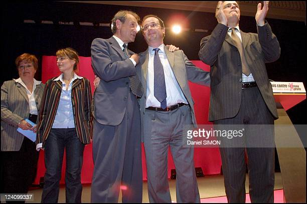 Socialist Party meeting at the mutuality In Paris France On April 30 2002 Left to rigthX Sophie Duez Bertrand Delanoe Francois Hollande and Patrick...