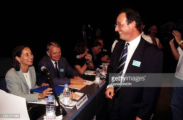 Socialist Party parliamentary days In Montpellier France On September 10 1997 Segolene Royal JeanMarc Ayrault and Francois Hollande