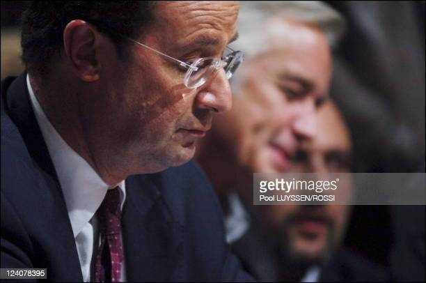Socialist Party's congress In Le Mans France On November 18 2005 Francois Hollande Francois Rebsamen Julien Dray