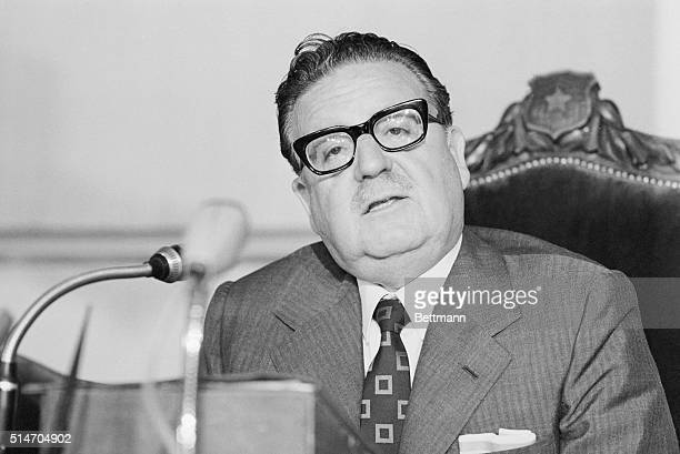 Socialist President Salvador Allende gives a press conference two days before congressional elections in Chile Later this same year he will die in a...