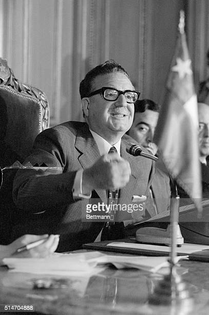 Socialist President Salvador Gossens Allende of Chile holds a press conference at the Government House in Santiago. His government showed surprising...