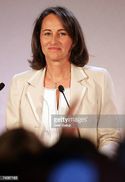 Socialist presidential candidate Segolene Royal speaks to supporters shortly after the closing of polling stations in the final round of French...