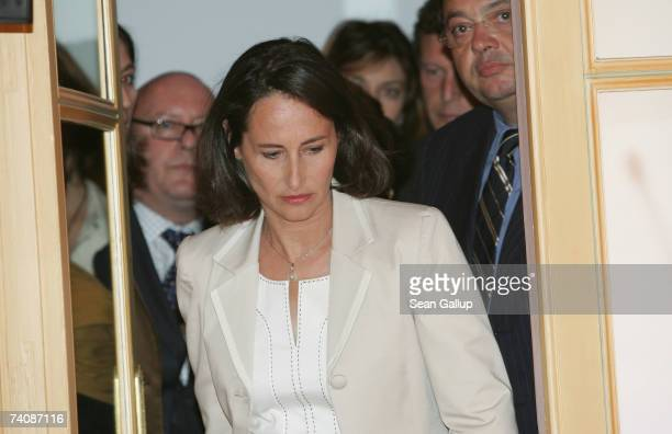 Socialist presidential candidate Segolene Royal walks towards a podium to speak to supporters shortly after the closing of polling stations in the...