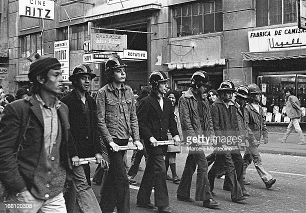 Socialist youth brigades in downtown Santiago demonstrating in favor of the Allende government, Santiago, July, 1973