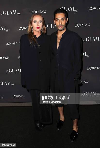 Socialite Allegra Versace Beck and makeup artist hairstylist and the Glam App founder CCO Joey Maalouf attend the Glam App Reloaded Launch Party at...