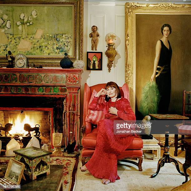 Socialite and heiress Gloria Vanderbilt is photographed for Town & Country Magazine on December 20, 2011 in New York City. Portrait on right is her...
