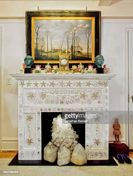 Socialite and heiress Gloria Vanderbilt's fire place is photographed for Town & Country Magazine on December 20, 2011 in New York City.